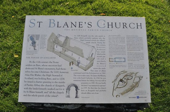St Blane's Chapel : Informational plaquard