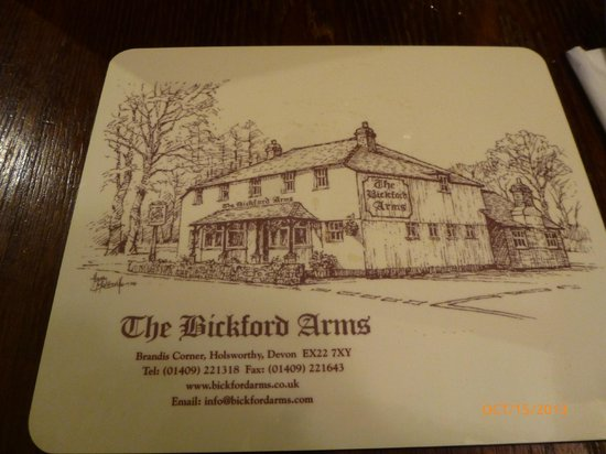 The Bickford Arms: Placemat showing exterior - it was too dark to get a good picture