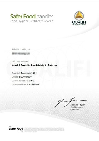 Knight's Rest Guest House: Level 2 Award in Food Safety