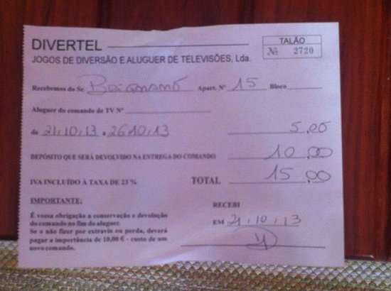 Albufeira Jardim - Apartamentos Turisticos: O yes, we were fully inclusive and this is a receipt for the remote control for the tv, they cha