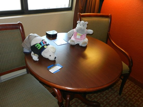 BEST WESTERN Plus Landing View Inn & Suites: notice the outlets (3) located ON the table