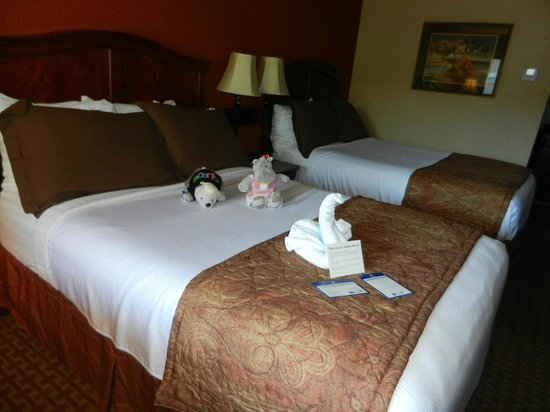 BEST WESTERN Plus Landing View Inn & Suites: Nice comfy beds and the artistic towel folding. Sorry bear and hippo not included