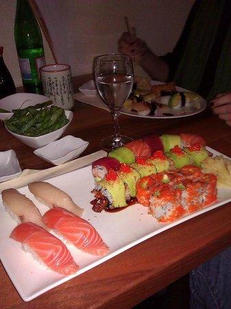 Tokyo Sushi Bar: Rainbow Roll, Hamashi, Sake, Unagi Avo Roll, Sake Tobiko Avo Roll