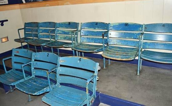 Roger Maris Museum: Seats from Yankee Stadium, 1960s era, in the museum theater
