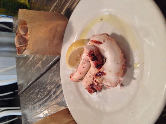 Mandolin Aegean Bistro: Grilled octopus. Delicious but small portion about 18$