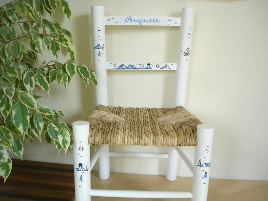 LElephant Blanc Chaise Paille Dcore Main Avec Prnom