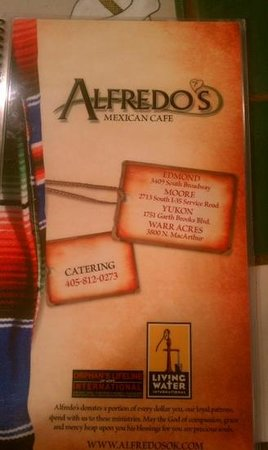 Alfredo's Mexican Cafe: menu cover info