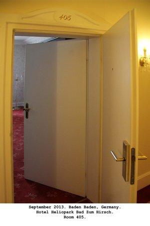 Heliopark Bad Hotel zum Hirsch : Odd double doors to the room.