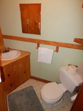 A Nice Little Motel : Bathroom. Rug in front of sink was dirty. I folded it up so I didn't have to step on with bare f