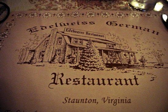 Edelweiss Restaurant: The menu cover.