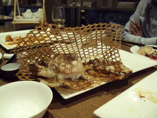 Crowne Plaza Beijing International Airport: fish served in a peculiar container (maybe my uncle's old chair)
