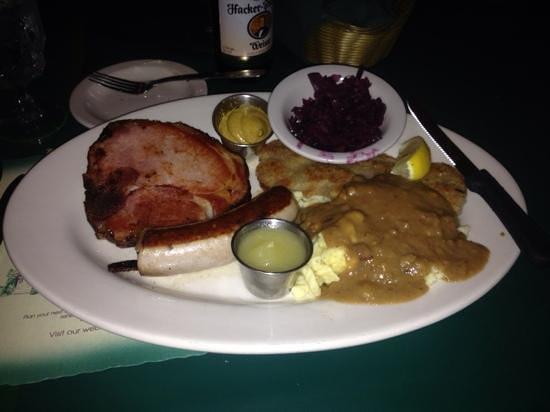 Mark's East Side: combination platter. I skipped the applesauce.