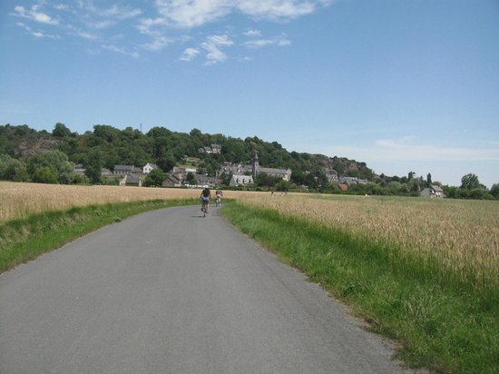 Chateau Mont-Dol : Biking the country roads; the village and hill of Mont Dol in the background