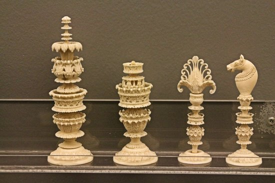 Maryhill Museum of Art: Carved ivory chess pieces from India.