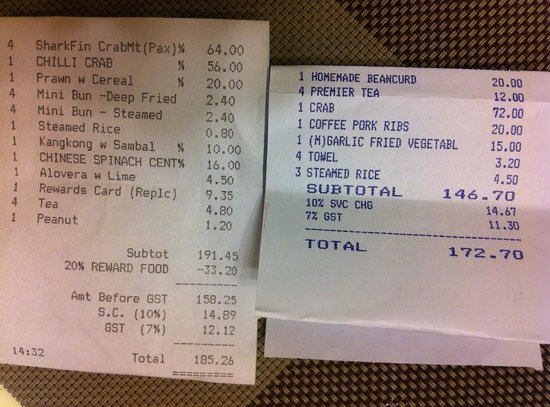 the receipt one from no signboard and another from jumbo picture