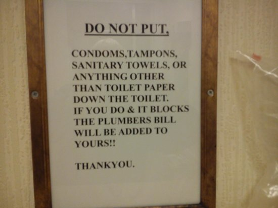 The Cottage Inn: Notice in bathroom