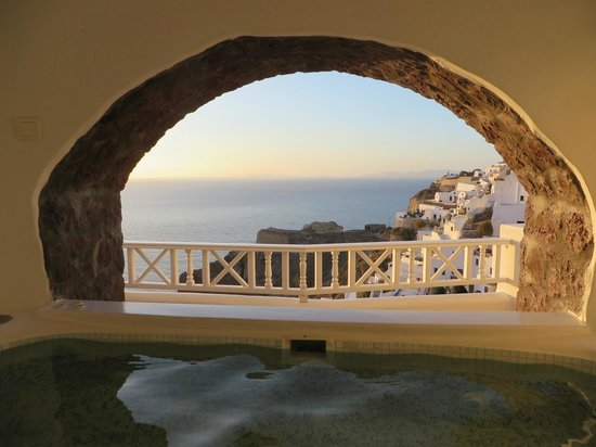 Art Maisons Luxury Santorini Hotels Aspaki & Oia Castle: View from inside of hot tub - Marine Suite