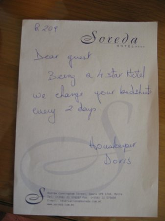 Soreda Hotel : note from the housekeeping asked to change sheets