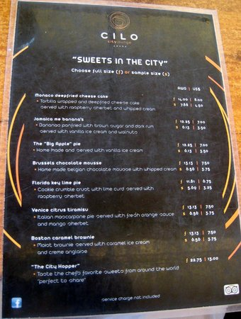 CILO City Lounge : menu