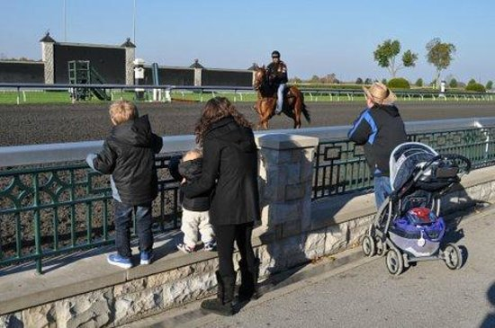 Keeneland Track Kitchen: Watching the horses work out.