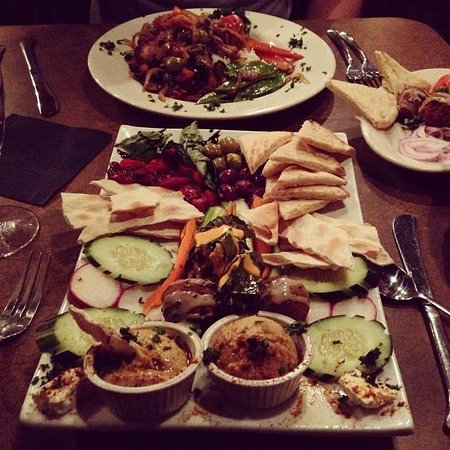 Caspian Cafe Mediterranean: Olive Chicken and Tapas Platter and Side of Falafel