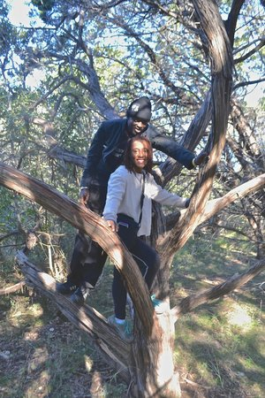 Friedrich Wilderness Park: Hanging out in a tree with my husband, lol