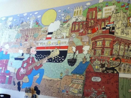 One of the murals in City Cafe. Really nice touch