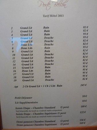 Hostellerie de la Porte-Bellon : les tarifs des différentes chambres
