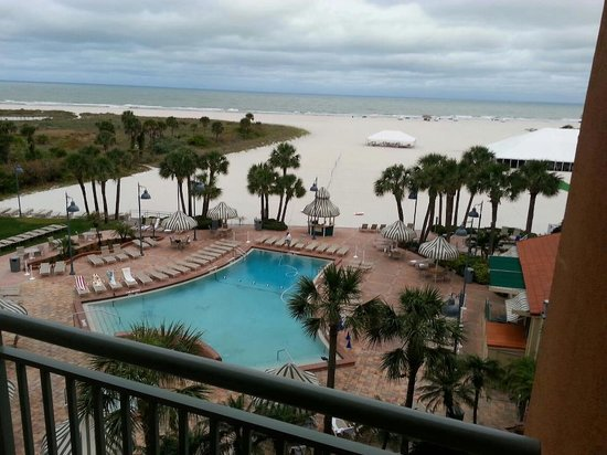 Sheraton Sand Key Resort: view from balcony early in the morning when it was overcast...still gorgeous