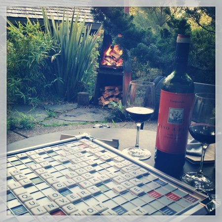 Coast Cabins: Scrabble in our private courtyard