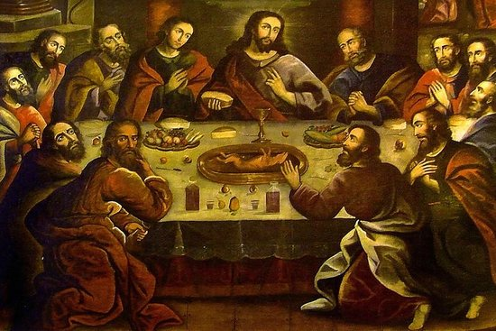 Last supper painting with guinea pig in cusco cathedral for Art of peruvian cuisine