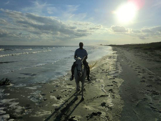 Inlet Point Plantation Stables: sunet on the beach