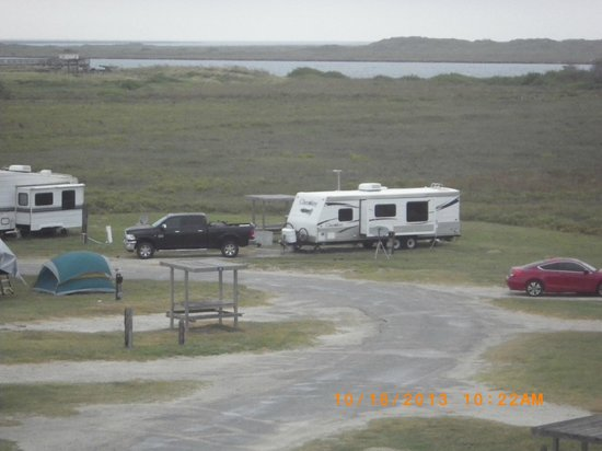 IB Magee Beach Park: Our camp, from upper level of Office with the ship channel in the background