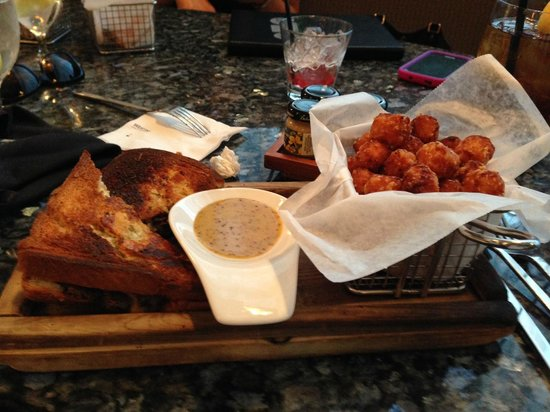 Ember Grille - Westin Charlotte: sweet potato tots with briased short rib grilled cheese
