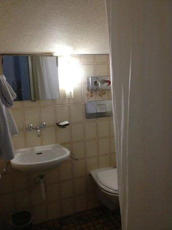 Hotel Emmental : Petite salle de bains fonctionnelle