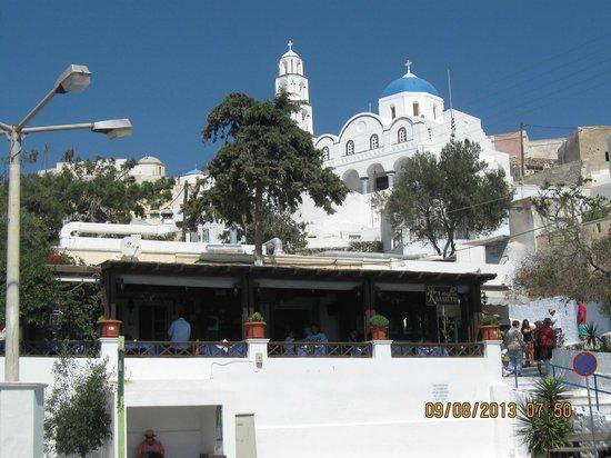 KALLISTI Tavern : Kallisti restaurant w/monastery above