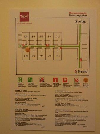 Thon Hotel Gardermoen: Brannrømningsplan