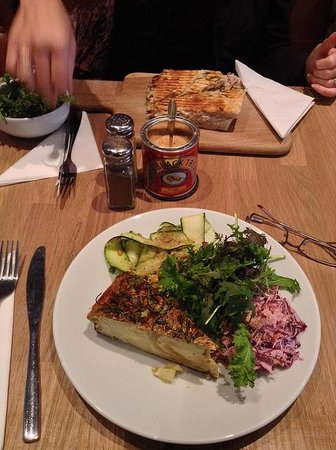 Spanish tortilla with salads and toasted tuna sandwich ...
