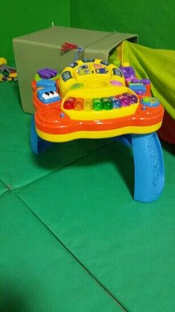 Emsley's Farm Shop: broken toy.. so dangerous as this is meant to support a baby practising to stand.