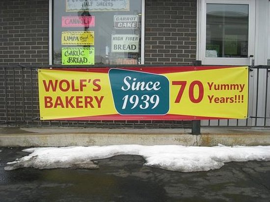Wolf's Bakery: Celbratory banner hung up to commemorate the 70th Anniversary in 2009.