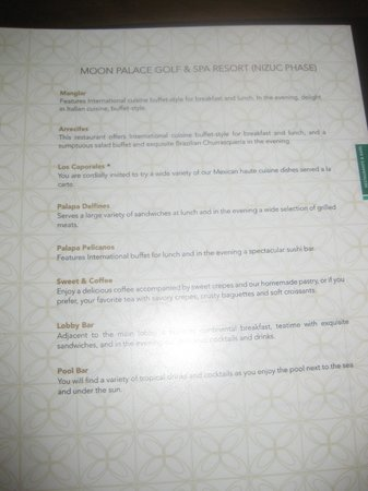 Moon Palace Cancun Restaurant Information