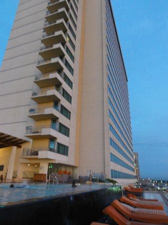 Hyatt Regency Trinidad: The building from the pool area