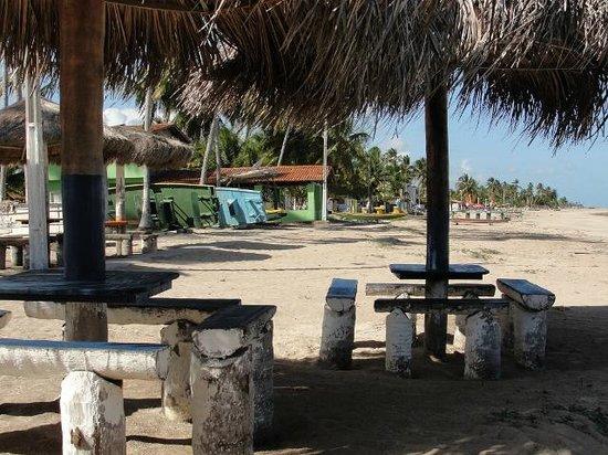 Tibiro: Mesas rústicas de frente para a praia