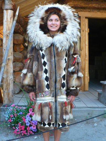 Riverboat Discovery : An Athabascan teen modeling a traditional winter coat