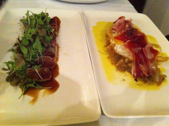 Restaurante La Fuente: Tuna tataki, and farm egg with truffle, jamon iberico and onions.
