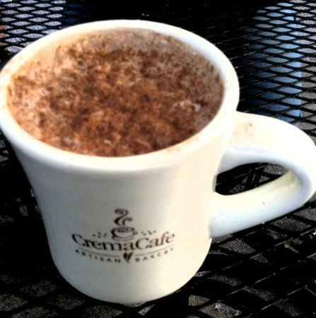 The Crema Cafe: hot chocolate, asked for no whipped cream and add cinnamon