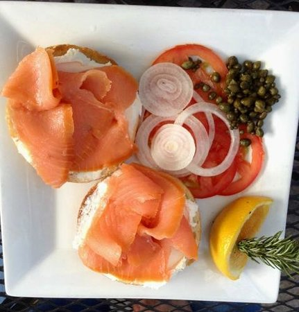 ‪‪The Crema Cafe‬: smoked salmon bagel $11.96‬