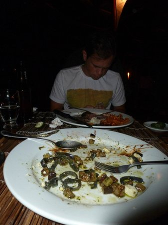 Shambala: What's left of the squid ink pasta with fresh shrimp, feta cheese and eggplant (to die for)