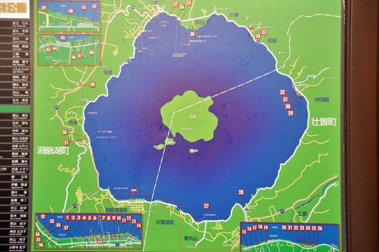 map of lake toya nakajima islands in middle of lake 北海道 洞爺