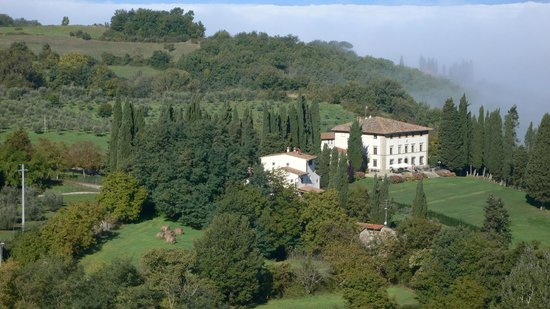Villa Campestri Olive Oil Resort: A view of the Villa set among olive groves taken from further up the mountain